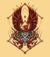 die phoenix-illustrationsvorlage für t-shirt, bekleidung vektor