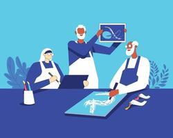 Senioren, die Spaß zusammen haben Illustrationskonzeptvektor vektor
