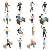 Casual City People Icons Set Vector Illustration