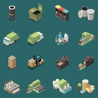 isolierte Müll-Recycling-Icon-Set-Vektor-Illustration vektor