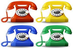 En uppsättning färgstarka klassiska telefoner