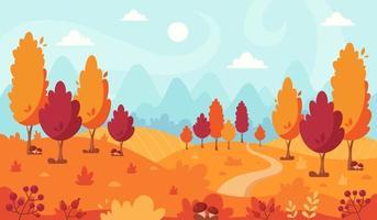 Herbstlandschaft mit Bäumen, Bergen, Feldern, Blättern vektor