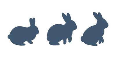 Kaninchen-Vektor. Kaninchen-Silhouette für die Dekoration zu Ostern isoliert auf weißem Hintergrund. vektor