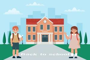 Schülermädchen und -junge mit Schulranzen in der Nähe des Schulgebäudes, glückliche Kinder. zurück zum Schulkonzept. Vektorillustration im flachen Stil vektor