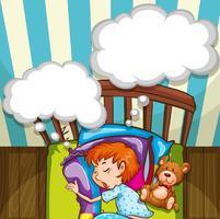 Pojke som sover i sängen vektor