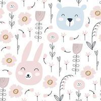 nahtloses Muster mit niedlichen Kaninchen, Bären und Blumen. Vektor