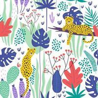 nahtloses Muster mit Leoparden und tropischen Blättern. Vektor