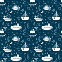 nahtloses Muster mit Schiffen, U-Booten, Segelbooten. Vektor