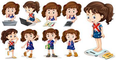 Kleines Mädchen, das verschiedene Tätigkeiten tut