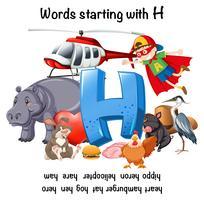 Bildungsplakat für Wörter mit H vektor