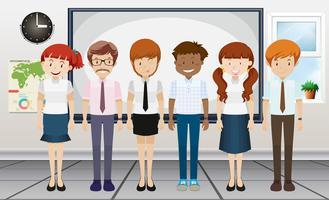 Man och kvinna står i klassrummet vektor