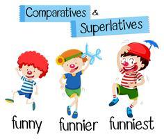 Jämförelser och superlativ för ord roligt vektor