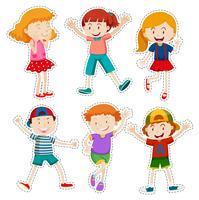 Aufklebersatz glückliche Jungen und Mädchen vektor