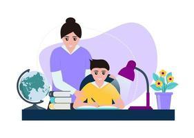 Kind mit Mutter, die Hausaufgaben macht vektor