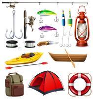 Set av camping och fiskeutrustning