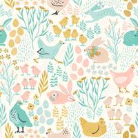 Vektor sömlöst mönster med kaniner och kyckling för påsk och andra användare.