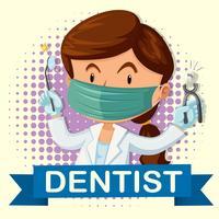 Weiblicher Zahnarzt mit Zahn und Hilfsmitteln vektor