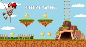 Abenteuer-Mining-Spielvorlage mit einem Jungencharakter