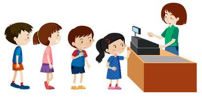 Kinder kaufen bei einer Kassiererin vektor