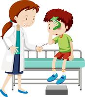 Doktor hilft verletzter Junge vektor