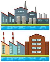 Fabriksbyggnader med långa skorstenar
