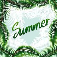 Sommerthemahintergrund mit grünen Blättern vektor