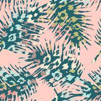 Modisches nahtloses exotisches Muster mit Palme, Tierdrucken und Hand gezeichneten Beschaffenheiten.