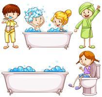 Kinder, die Zähne putzen und ein Bad nehmen