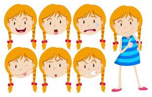 Flicka med blont hår med många ansiktsuttryck