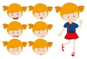 Nettes Mädchen mit Gesichtsausdrücken vektor