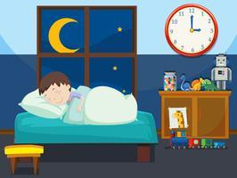 Ein Junge schläft im Schlafzimmer vektor