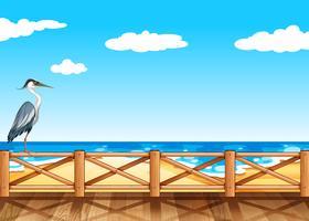 Szene mit Kran und Ozean