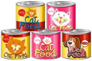 Set Dosenfutter für Haustiere vektor