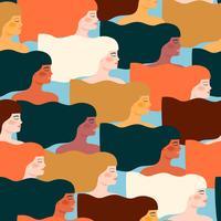 Internationaler Frauentag. Vektornahtloses Muster mit verschiedenen Frauen.