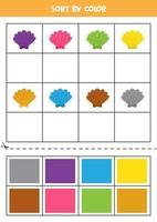 Bilder nach Farbe sortieren. Cartoon-Muschel. Spiel für Kinder. schneiden und Kleben. vektor