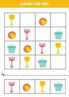 Sudoku-Spiel für Kinder mit süßen Cartoon-Sommerbildern. vektor