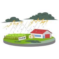 Gewitter auf der Bauernhofkarikatur-Vektorillustration vektor