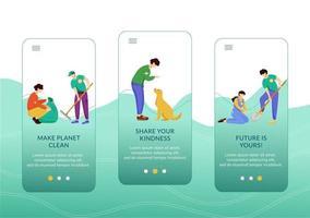 freiwillige Aktivitäten beim Onboarding der mobilen App-Bildschirmvektorvorlage vektor