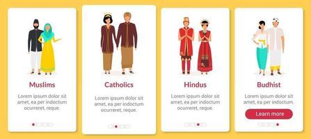 Indonesische Religion Onboarding Mobile App-Bildschirmvektorvorlage vektor