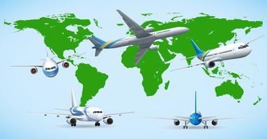 Fem flygplan som flyger runt om i världen