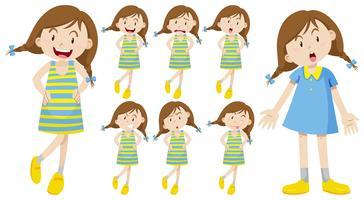 Flicka med olika känslor vektor
