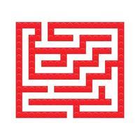 quadratisches Labyrinth aus roten Ziegeln Spielzeug Labyrinth-Spiel für Kinder. Labyrinth vektor