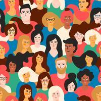 Vektor sömlöst mönster med unga män och kvinnor med olika hudfärg.