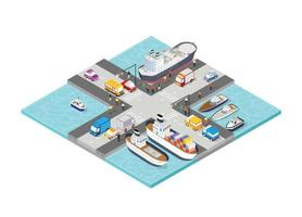 isometrisk hamn fartyg turism hamn med människor vektor