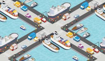 sömlösa industriella stadskarta mönster. isometrisk hamnplats vektor