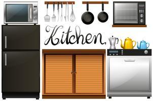 Kök fullt av utrustning och möbler