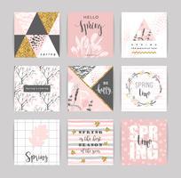 Set künstlerische kreative Frühlingskarten. vektor