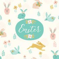 Frohe Ostern. Vector Schablone mit Ostern-Häschen für Karte, Plakat, Flieger und andere Benutzer