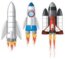 Eine Reihe von Weltraumraketen vektor