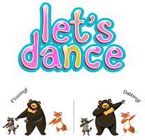 Lassen Sie uns Tiere Konzept tanzen vektor